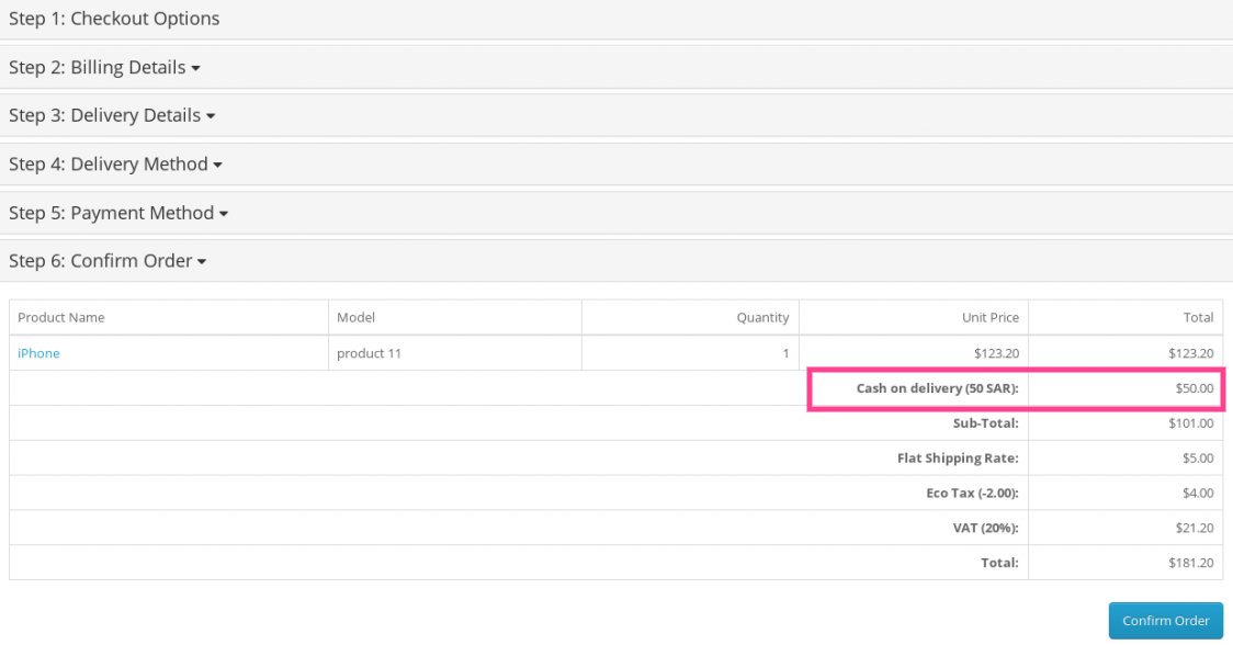 Screenshot of payment fee extension in action